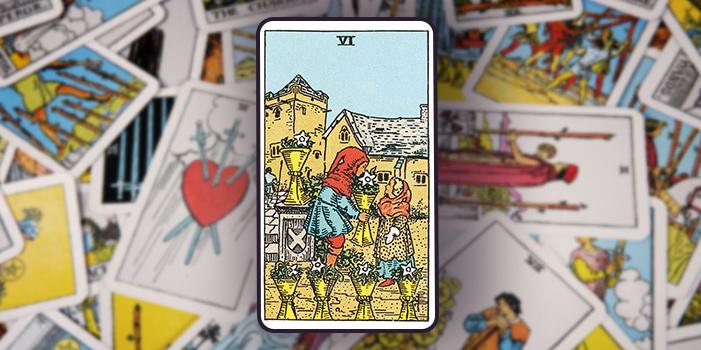 """Tarotkarte """"Sechs der Kelche"""""""